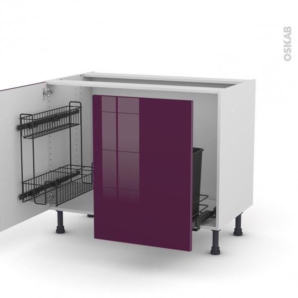 Meuble de cuisine - Sous évier - KERIA Aubergine - 2 portes lessiviel-poubelle coulissante  - L100 x H70 x P58 cm