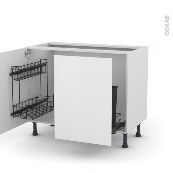 Meuble de cuisine - Sous évier - GINKO Blanc - 2 portes lessiviel-poubelle coulissante  - L100 x H70 x P58 cm