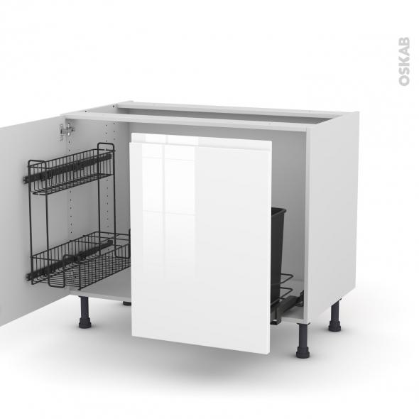 Meuble de cuisine - Sous évier - IPOMA Blanc - 2 portes lessiviel-poubelle coulissante  - L120 x H70 x P58 cm