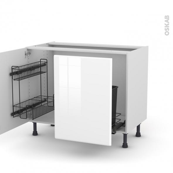 Meuble de cuisine - Sous évier - IRIS Blanc - 2 portes lessiviel-poubelle coulissante  - L100 x H70 x P58 cm