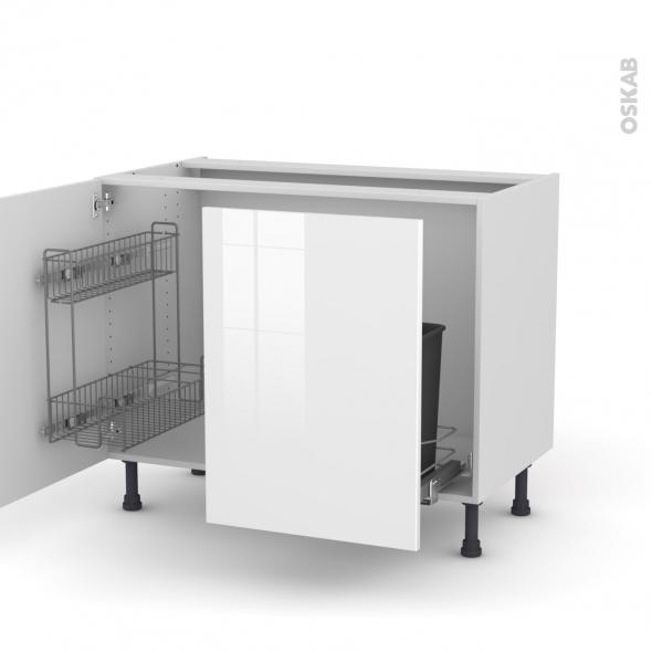 STECIA Blanc - Meuble sous-évier - 2 portes lessiviel-poubelle coulissante - L100xH70xP58
