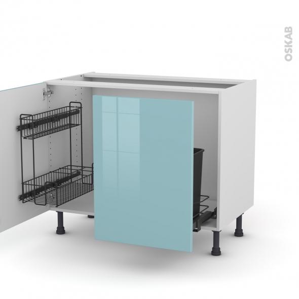 Meuble de cuisine - Sous évier - KERIA Bleu - 2 portes lessiviel coulissante - L100 x H70 x P58 cm