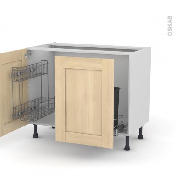 BETULA Bouleau - Meuble sous-évier - 2 portes lessiviel-poubelle coulissante - L100xH70xP58