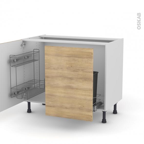 HOSTA Chêne naturel - Meuble sous-évier - 2 portes lessiviel-poubelle coulissante - L100xH70xP58