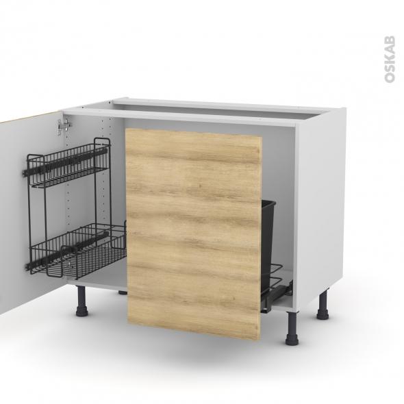 Meuble de cuisine - Sous évier - HOSTA Chêne naturel - 2 portes lessiviel-poubelle coulissante  - L100 x H70 x P58 cm