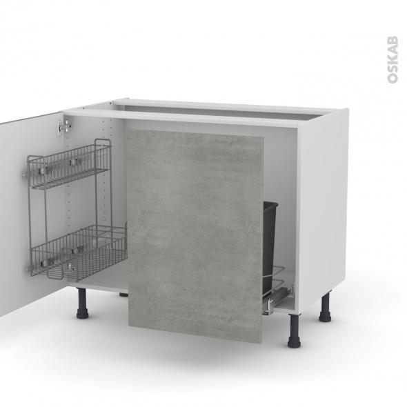 FAKTO Béton - Meuble sous-évier - 2 portes lessiviel-poubelle coulissante - L100xH70xP58