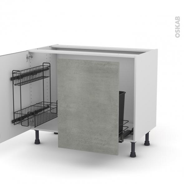 Meuble de cuisine - Sous évier - FAKTO Béton - 2 portes lessiviel-poubelle coulissante  - L100 x H70 x P58 cm