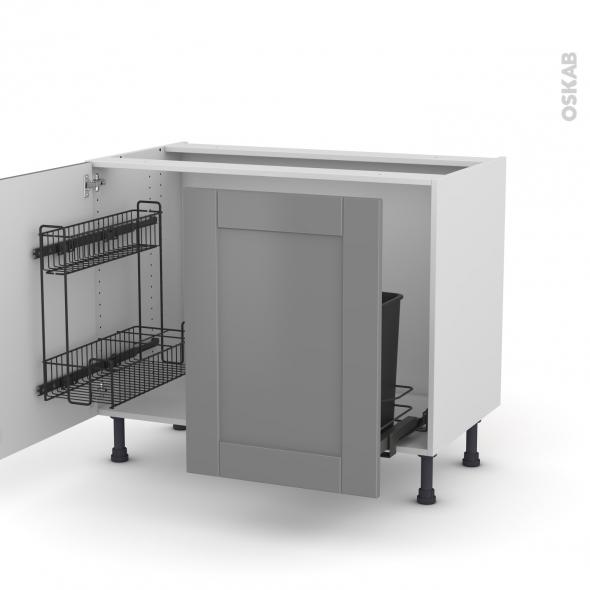 FILIPEN Gris - Meuble sous-évier - 2 portes lessiviel-poubelle coulissante - L100xH70xP58