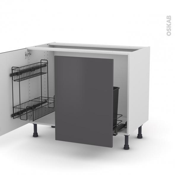 Meuble de cuisine - Sous évier - GINKO Gris - 2 portes lessiviel coulissante - L100 x H70 x P58 cm