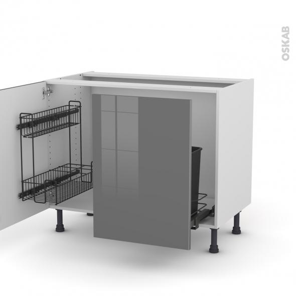 STECIA Gris - Meuble sous-évier - 2 portes lessiviel-poubelle coulissante - L100xH70xP58