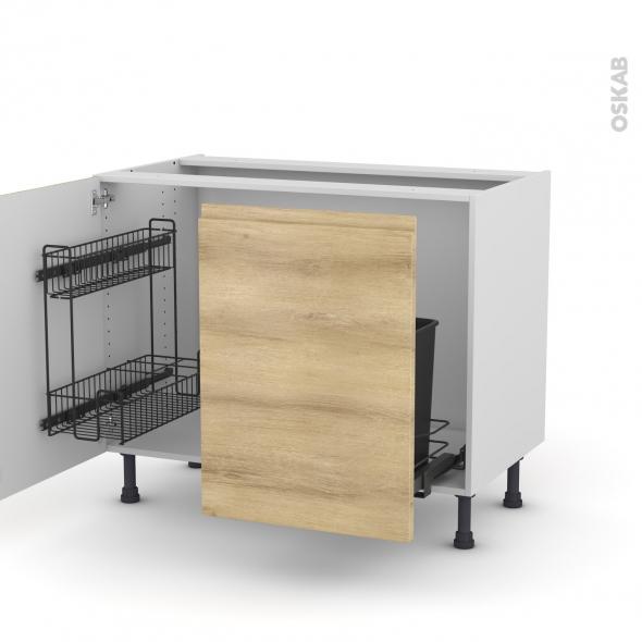 Meuble de cuisine - Sous évier - IPOMA Chêne naturel - 2 portes lessiviel-poubelle coulissante  - L100 x H70 x P58 cm