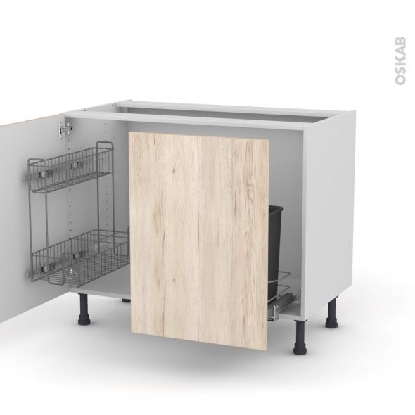IKORO Chêne clair - Meuble sous-évier - 2 portes lessiviel-poubelle coulissante - L100xH70xP58