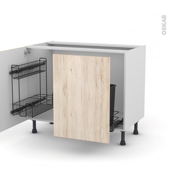 Meuble de cuisine - Sous évier - IKORO Chêne clair - 2 portes lessiviel-poubelle coulissante  - L100 x H70 x P58 cm