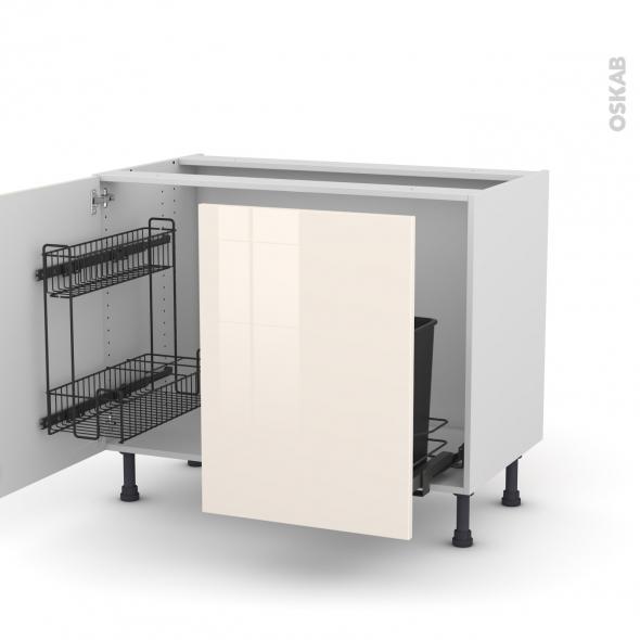 Meuble de cuisine - Sous évier - KERIA Ivoire - 2 portes lessiviel-poubelle coulissante  - L100 x H70 x P58 cm