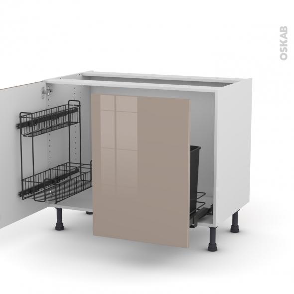 KERIA Moka - Meuble sous-évier - 2 portes lessiviel-poubelle coulissante - L100xH70xP58