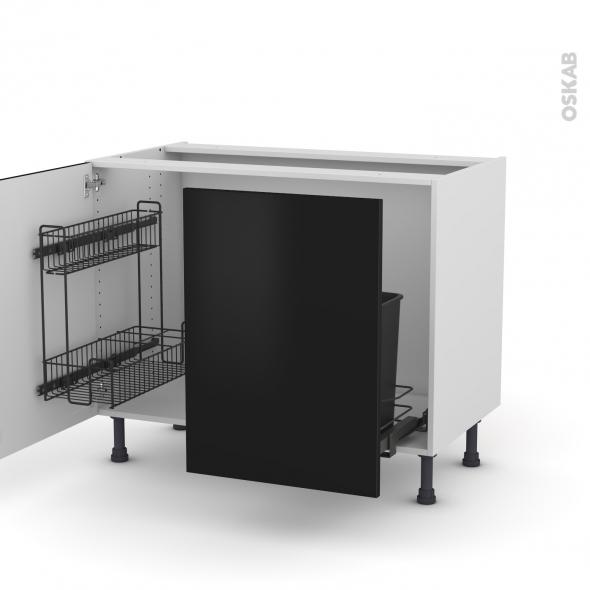 Meuble de cuisine - Sous évier - GINKO Noir - 2 portes lessiviel coulissante - L100 x H70 x P58 cm