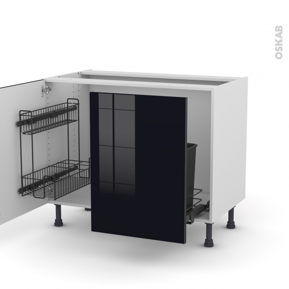 Meuble de cuisine - Sous évier - KERIA Noir - 2 portes lessiviel coulissante - L100 x H70 x P58 cm
