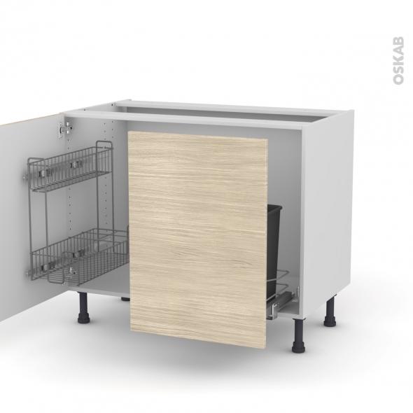 STILO Noyer Blanchi - Meuble sous-évier - 2 portes lessiviel-poubelle coulissante - L100xH70xP58