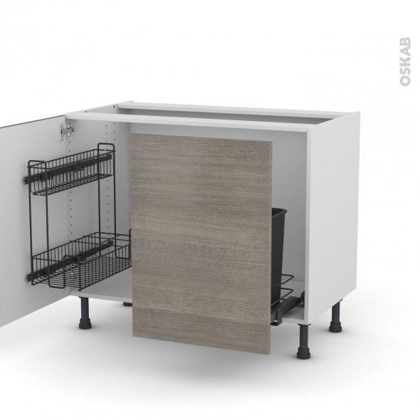 Meuble de cuisine - Sous évier - STILO Noyer Naturel - 2 portes lessiviel-poubelle coulissante  - L100 x H70 x P58 cm