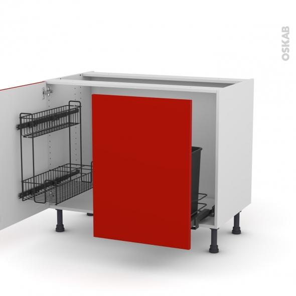 GINKO Rouge - Meuble sous-évier - 2 portes lessiviel-poubelle coulissante - L100xH70xP58