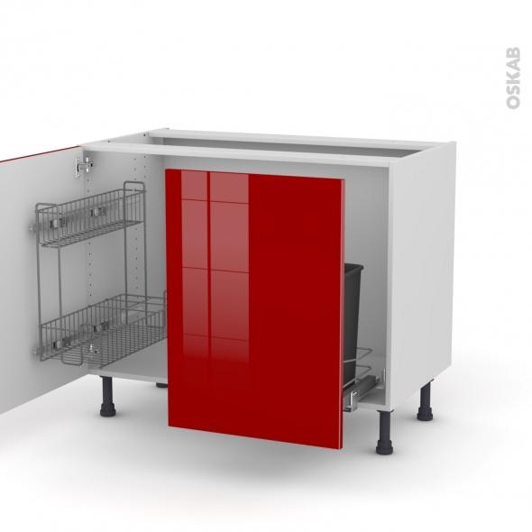 STECIA Rouge - Meuble sous-évier - 2 portes lessiviel-poubelle coulissante - L100xH70xP58