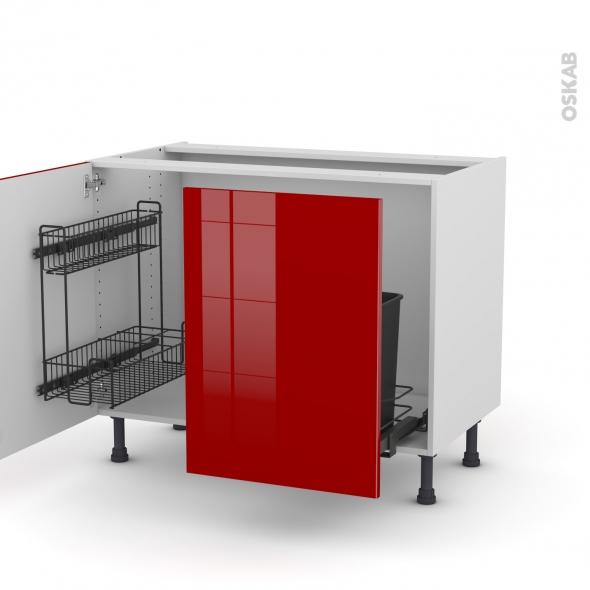 Meuble de cuisine - Sous évier - STECIA Rouge - 2 portes lessiviel-poubelle coulissante  - L100 x H70 x P58 cm