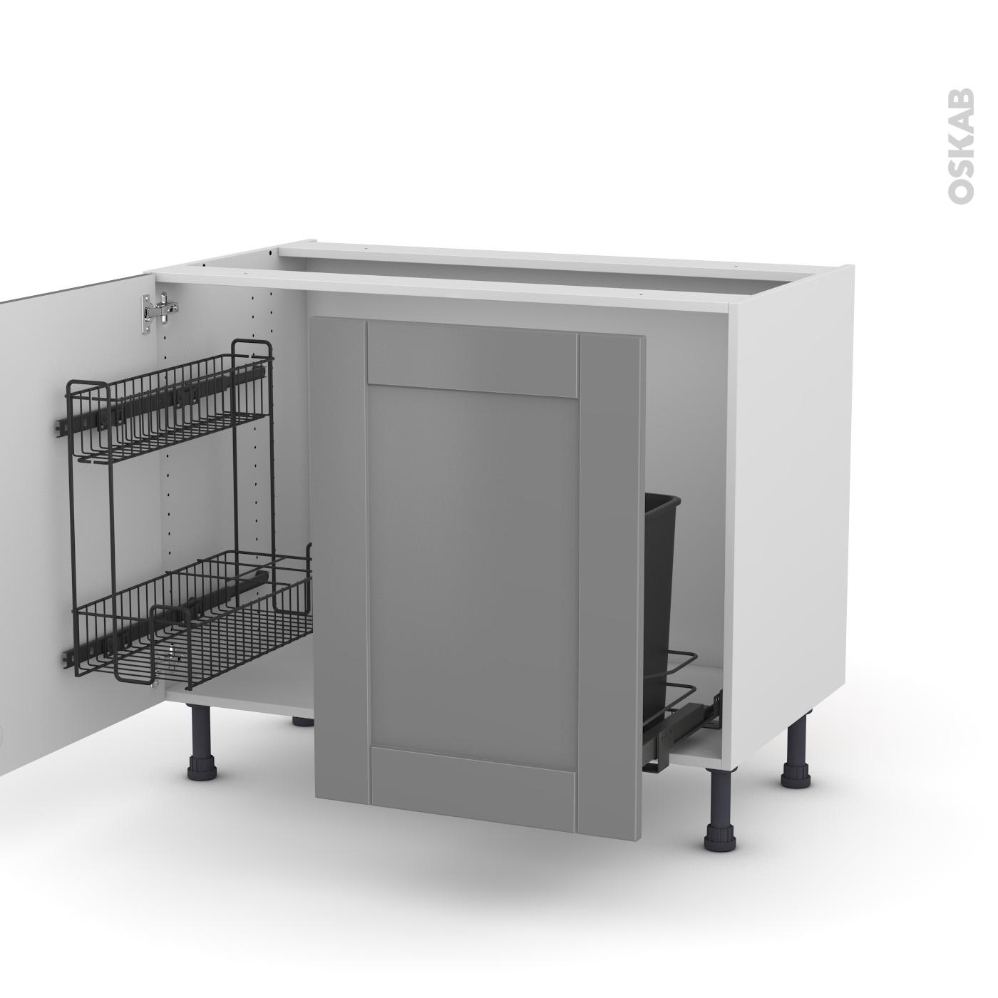 Plan De Travail Coulissant meuble de cuisine sous évier filipen gris, 2 portes lessiviel-poubelle  coulissante , l100 x h70 x p58 cm