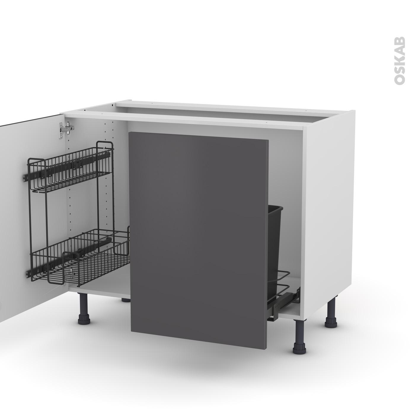 Meuble de cuisine Sous évier GINKO Gris, 14 portes lessiviel-poubelle  coulissante , L14 x H14 x P14 cm