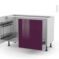 Meuble de cuisine - Sous évier - KERIA Aubergine - 2 portes lessiviel-poubelle coulissante  - L120 x H70 x P58 cm