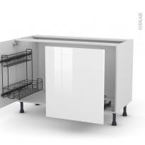 Meuble de cuisine - Sous évier - STECIA Blanc - 2 portes lessiviel-poubelle coulissante  - L120 x H70 x P58 cm