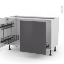 Meuble de cuisine - Sous évier - GINKO Gris - 2 portes lessiviel-poubelle coulissante  - L120 x H70 x P58 cm