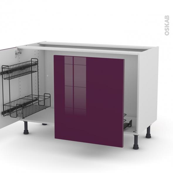 KERIA Aubergine - Meuble sous-évier - 2 portes lessiviel-poubelle coulissante - L120xH70xP58