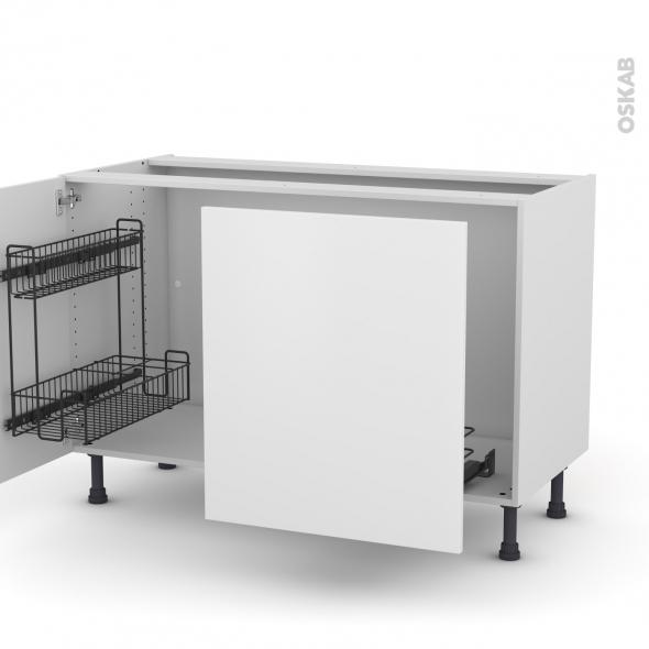 Meuble de cuisine - Sous évier - GINKO Blanc - 2 portes lessiviel-poubelle coulissante  - L120 x H70 x P58 cm