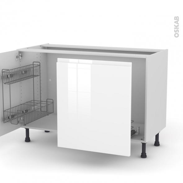 IPOMA Blanc - Meuble sous-évier - 2 portes lessiviel-poubelle coulissante - L120xH70xP58