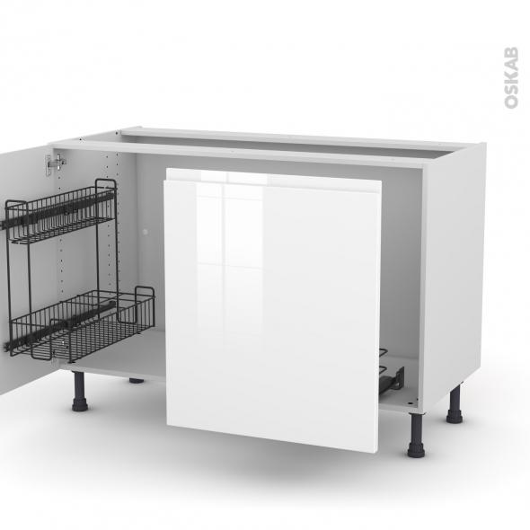 Meuble de cuisine - Sous évier - IPOMA Blanc - 2 portes lessiviel-poubelle coulissante  - L100 x H70 x P58 cm