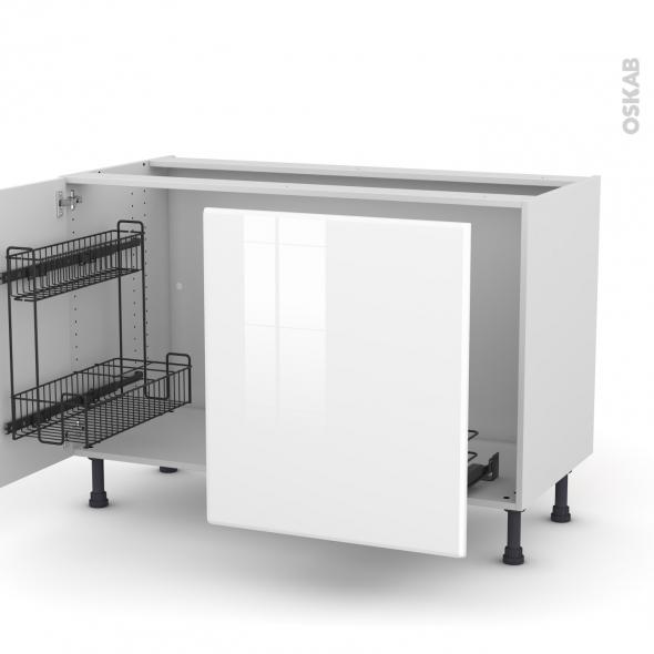 IRIS Blanc - Meuble sous-évier - 2 portes lessiviel-poubelle coulissante - L120xH70xP58