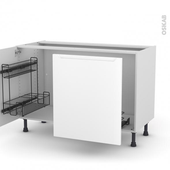 Meuble de cuisine - Sous évier - PIMA Blanc - 2 portes lessiviel-poubelle coulissante  - L120 x H70 x P58 cm