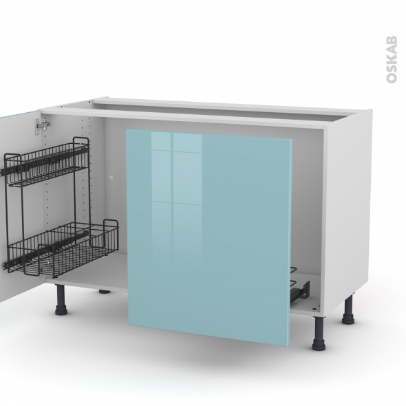 Meuble de cuisine - Sous évier - KERIA Bleu - 2 portes lessiviel-poubelle coulissante  - L120 x H70 x P58 cm
