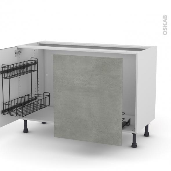 Meuble de cuisine - Sous évier - FAKTO Béton - 2 portes lessiviel coulissante - L120 x H70 x P58 cm