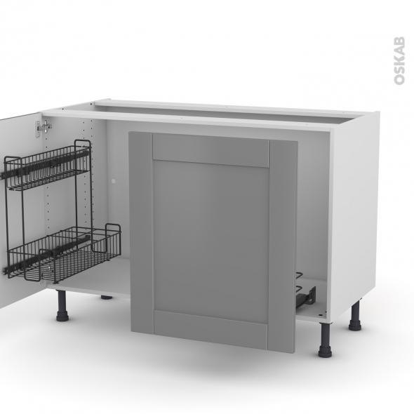 Meuble de cuisine - Sous évier - FILIPEN Gris - 2 portes lessiviel-poubelle coulissante  - L120 x H70 x P58 cm