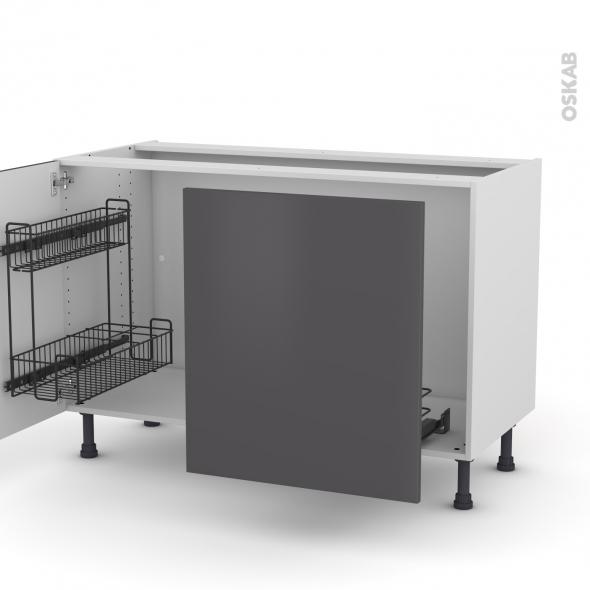 GINKO Gris - Meuble sous-évier - 2 portes lessiviel-poubelle coulissante - L120xH70xP58