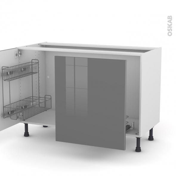STECIA Gris - Meuble sous-évier - 2 portes lessiviel-poubelle coulissante - L120xH70xP58