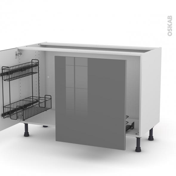 Meuble de cuisine - Sous évier - STECIA Gris - 2 portes lessiviel-poubelle coulissante  - L120 x H70 x P58 cm
