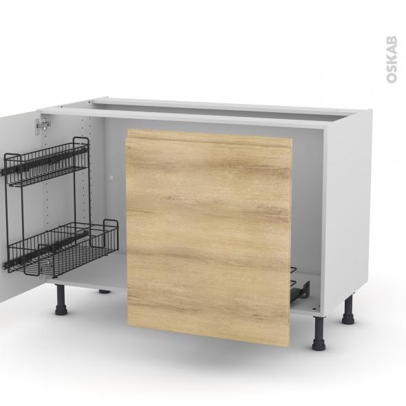 Meuble de cuisine - Sous évier - IPOMA Chêne naturel - 2 portes lessiviel-poubelle coulissante  - L120 x H70 x P58 cm