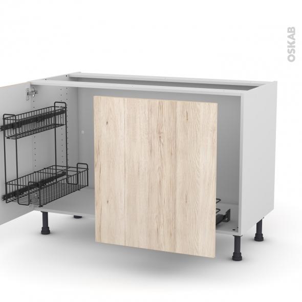 Meuble de cuisine - Sous évier - IKORO Chêne clair - 2 portes lessiviel-poubelle coulissante  - L120 x H70 x P58 cm
