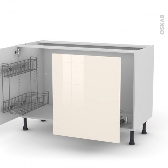 KERIA Ivoire - Meuble sous-évier - 2 portes lessiviel-poubelle coulissante - L120xH70xP58