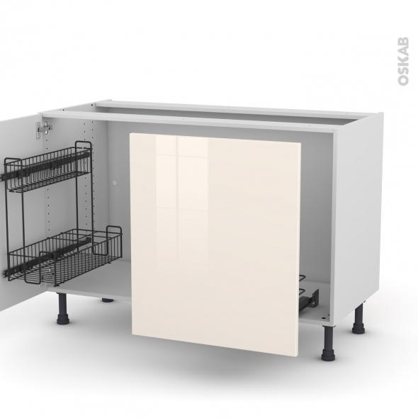 Meuble de cuisine - Sous évier - KERIA Ivoire - 2 portes lessiviel-poubelle coulissante  - L120 x H70 x P58 cm