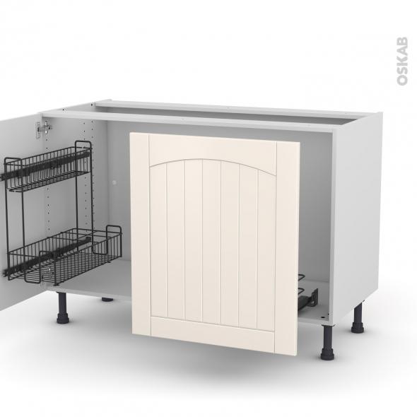 SILEN Ivoire - Meuble sous-évier - 2 portes lessiviel-poubelle coulissante - L120xH70xP58