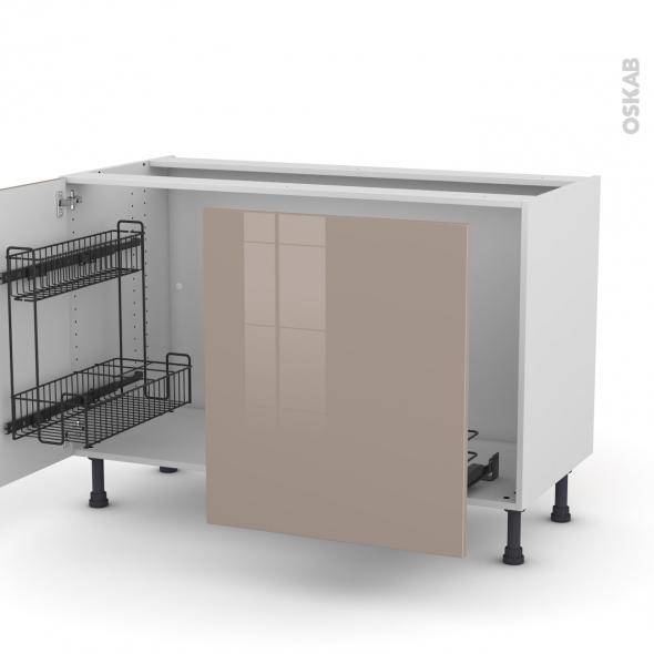 Meuble de cuisine - Sous évier - KERIA Moka - 2 portes lessiviel-poubelle coulissante  - L120 x H70 x P58 cm