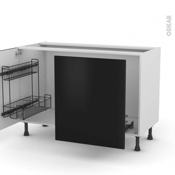Meuble de cuisine - Sous évier - GINKO Noir - 2 portes lessiviel-poubelle coulissante  - L120 x H70 x P58 cm